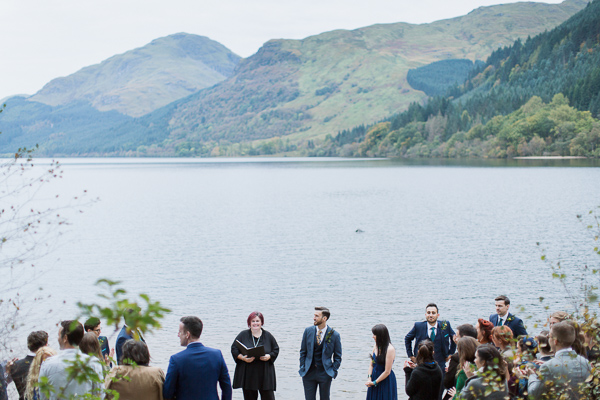 groom waiting for bride at loch eck north west from glasgow scotland