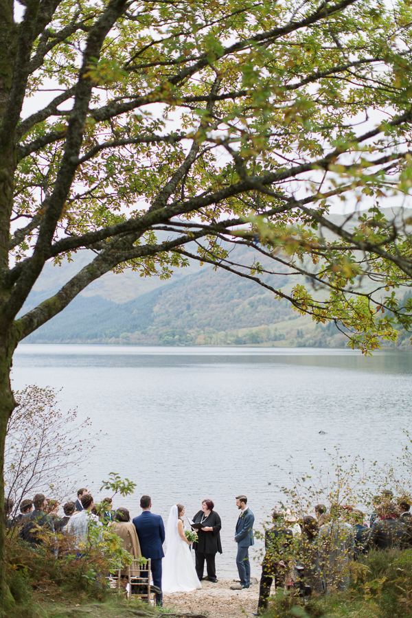 lovely outdoors ceremony at loch eck with view
