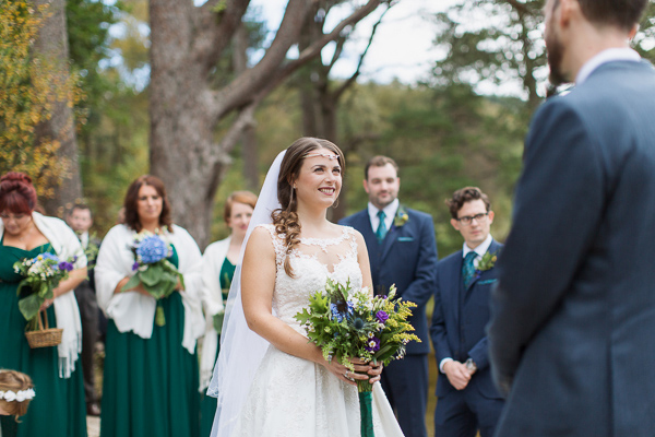 bride and groom looking at each other at ceremony