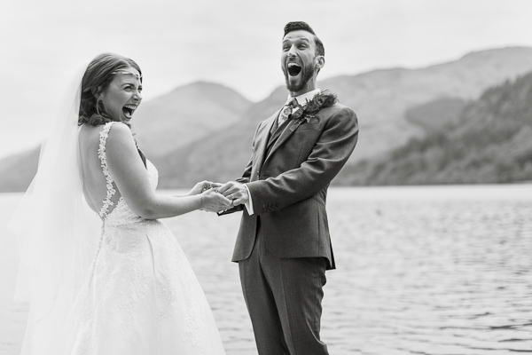 bride and groom excited about to kiss