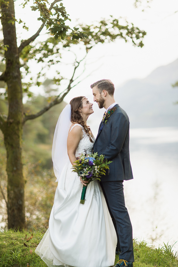 fine art wedding photography glasgow bride and groom looking at each other