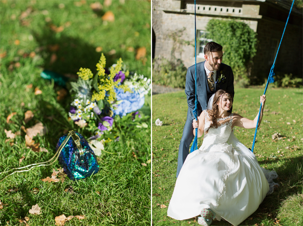 bride on a swing pushed by groom sunny day at ardkinglas estate