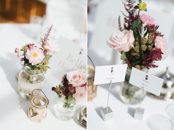 table decorations at the lodge on loch goil conservatory