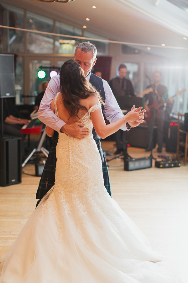 bride and groom first dance at the lodge on loch goil