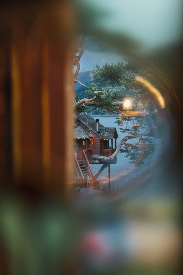 tree house view through glass at the lodge on loch goil