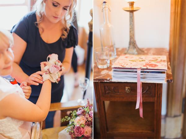 flower hand pieces and wedding scrapbook