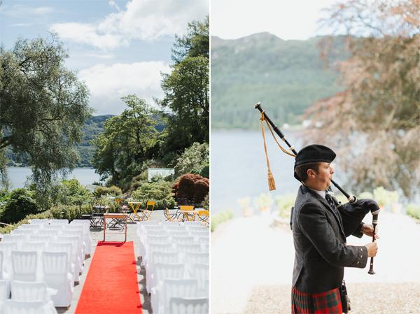ceremony setup and scottish piper