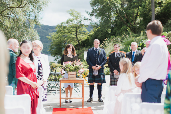 groom and guests waiting at wedding ceremony at the lodge on loch goil