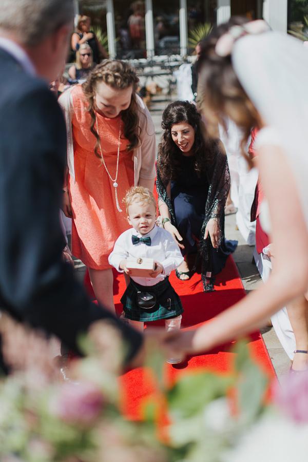 little boy ring bearer in scottish kilt
