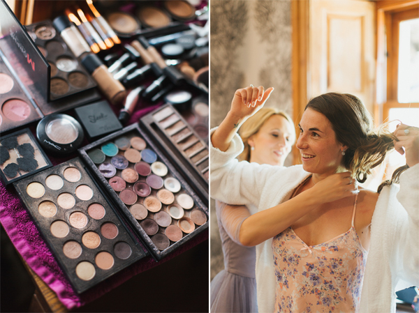 make up and bridesmates at The Lodge on Loch Goil Wedding