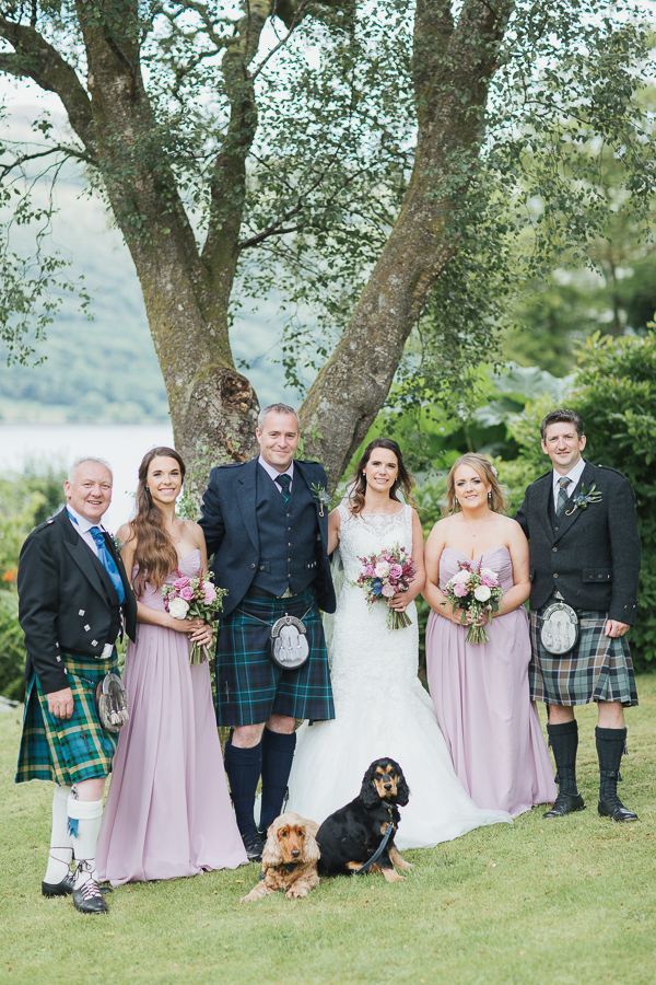 bridal party with dogs at the lodge on loch goil