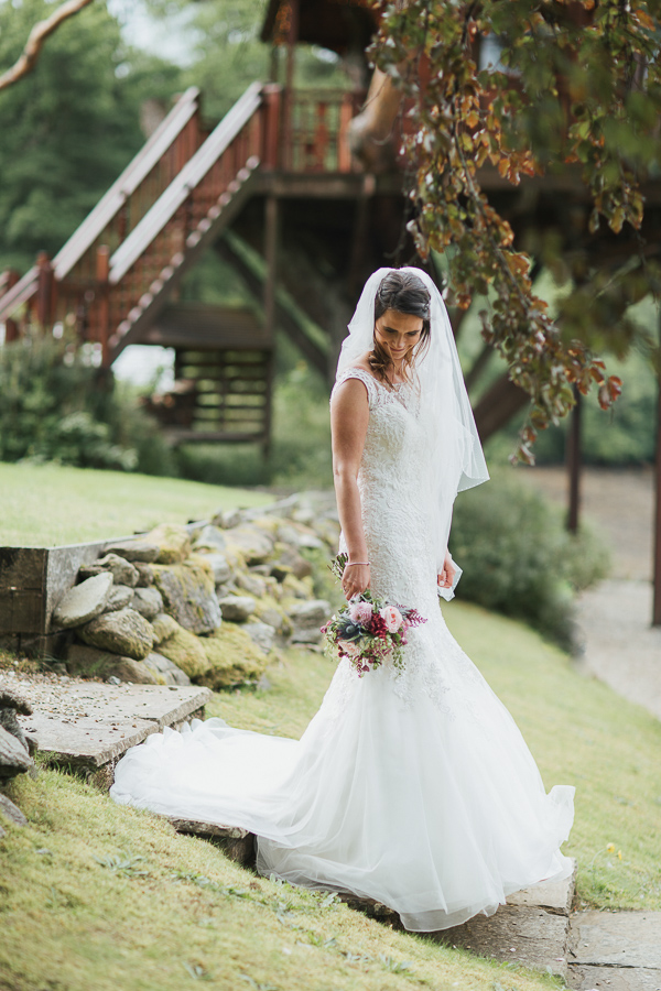 bride in the garden of at the lodge on loch goil