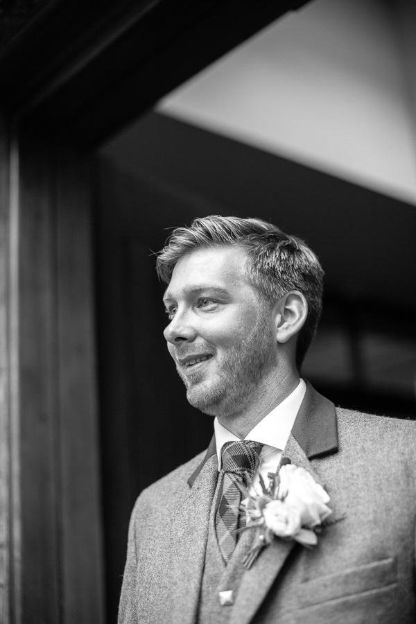 groom awaiting the bride  at the bearsden church scotland
