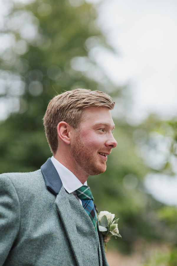 portrait of the groom at beasden church scotland