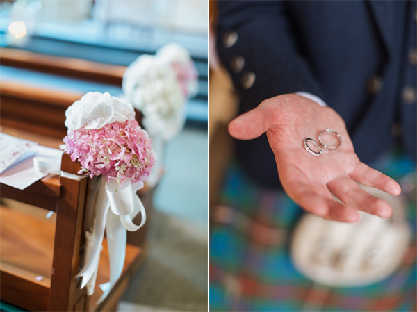 flowers and wedding rings bearsden church scotland