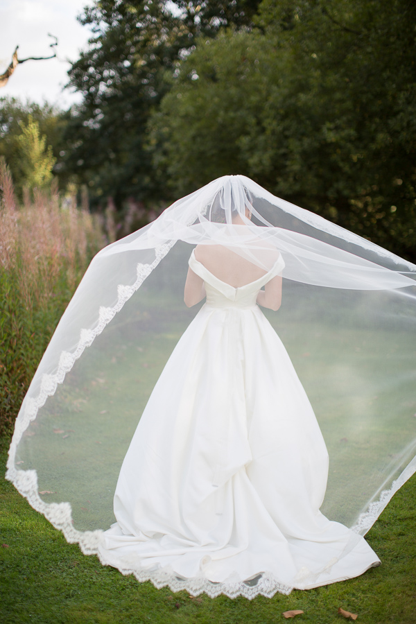 bride with her veil raised