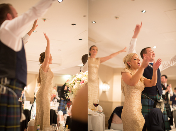 guests go crazy during singing waiters at cameron house hotel wedding