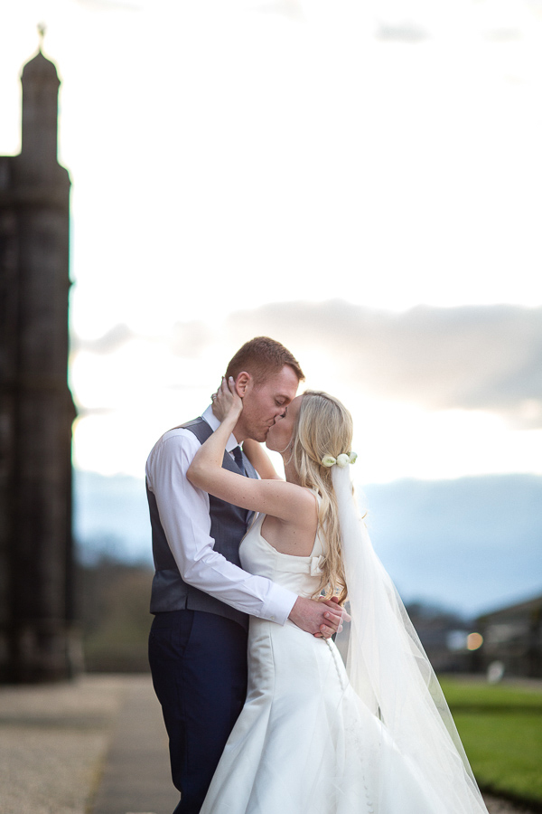 evening kiss of married couple mar hall scotland