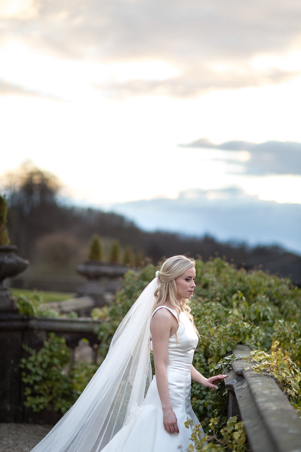 scottish bride on a terrace at mar hall scotland