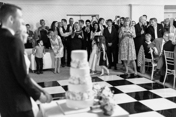 cutting of the cake at the wedding mar hall scotland