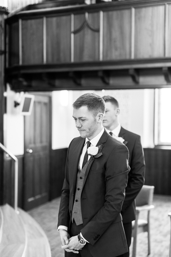 groom waiting at the altra in hamilton church in scotland