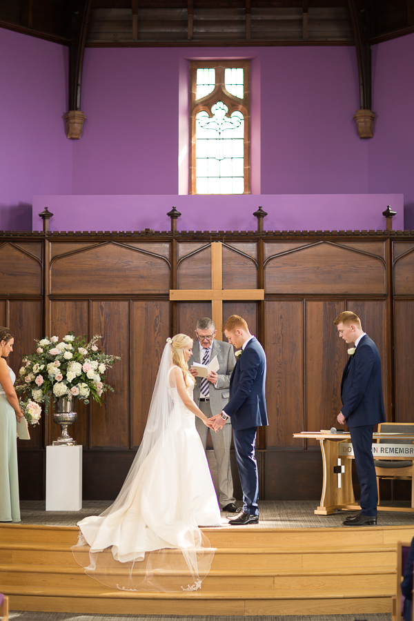 vows exchange in hamilton church in scotland