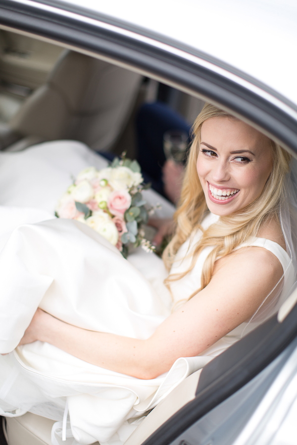 smiling bride photographed by wedding photographer glasgow