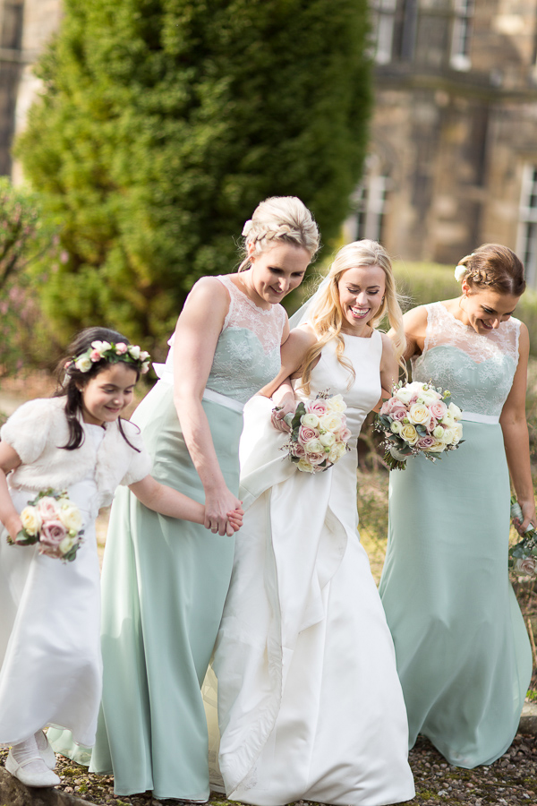 scottish bride walkign with her bridal party mar hall
