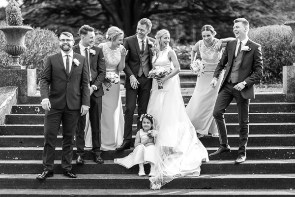 bridal party photos outside of mar hall near glasgw