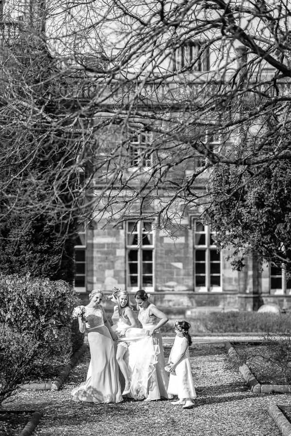 bride with her bridesmaids at the venue mar hall scotland