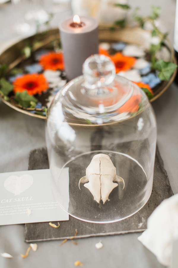 skull as decoration on a wedding table