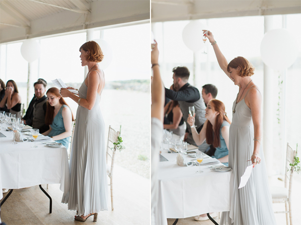 bridesmate raising toast during her wedding speech
