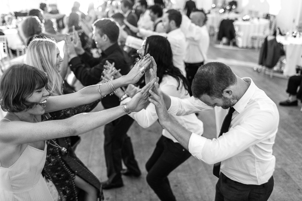 guests dancing during wedding at crear