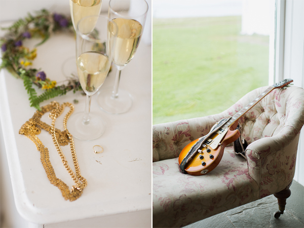 wedding jewelery champaign and guitar