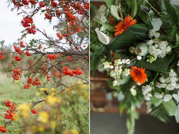 white and orange wedding flowers