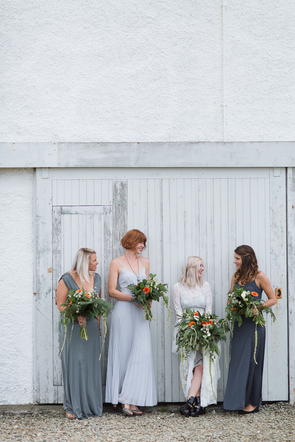 bride looking at bridesmates