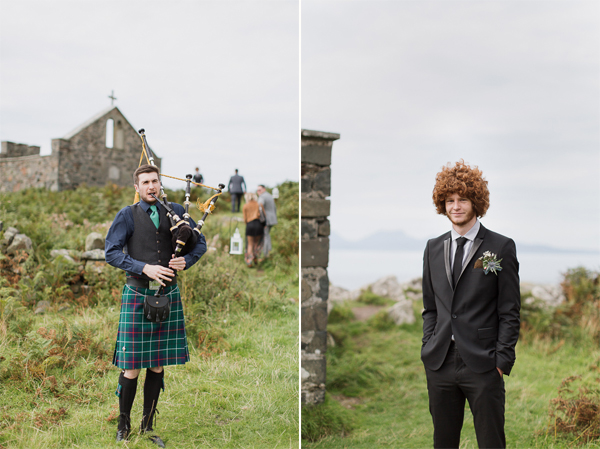scottish piper on beach ceremony and best man with afro haircut