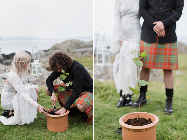 bride and groom planting tree at their wedding