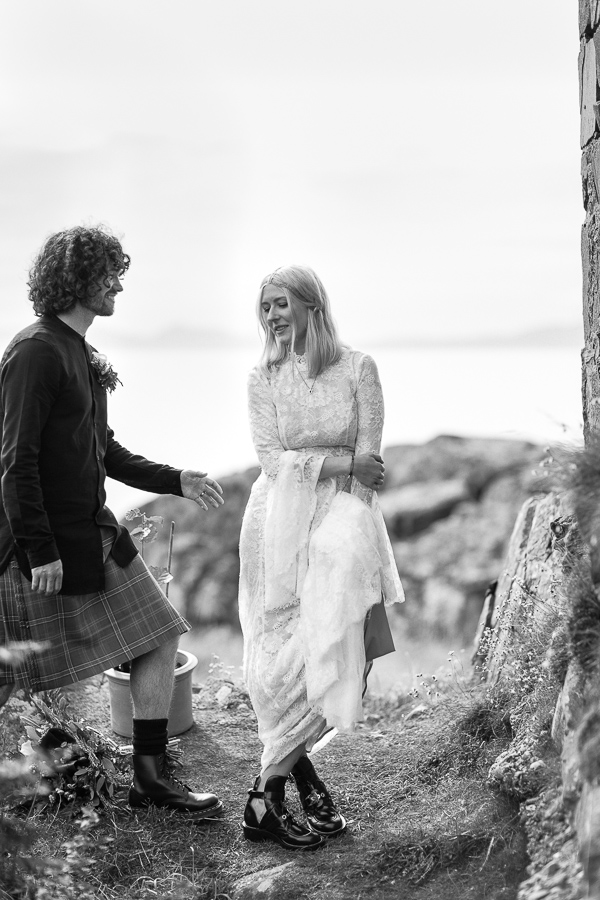 groom with bride, wedding at crear mull of kintyre
