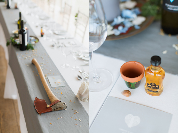 axe and whisky wedding decorations