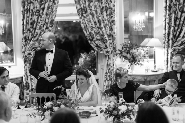 groom giving a speech at wedding dundas castle