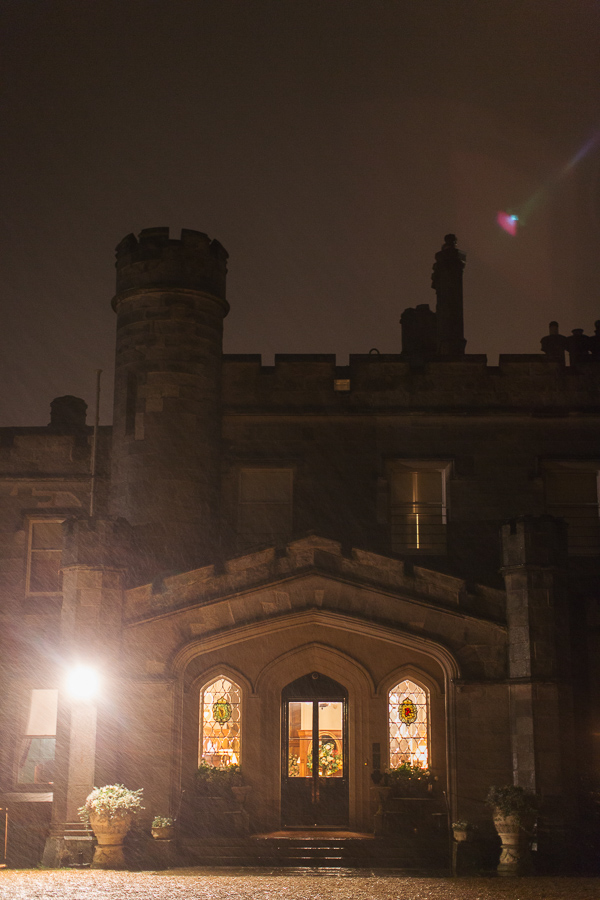 evening dundas castle in rain