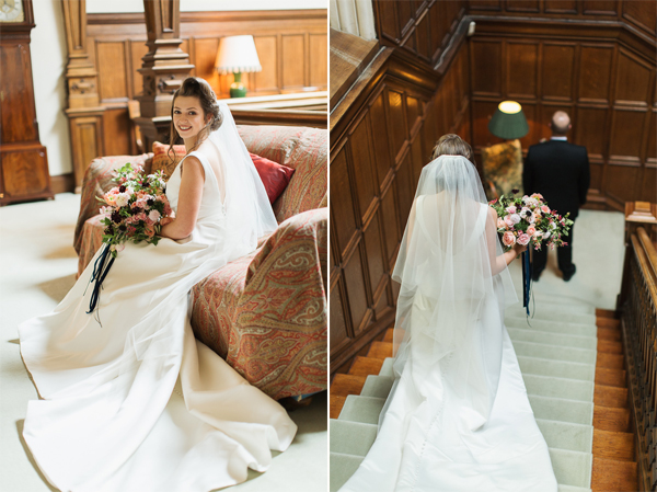 first glance of bride and groom at dundas castle
