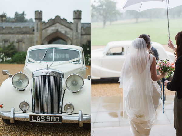 vintage wedding car and bride walking uder an umbrella