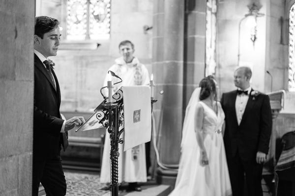 weddign readying at ceremony in a church scotland