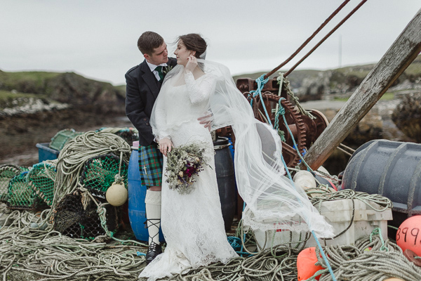 wedding photos scotland newlyweds on an old harbour