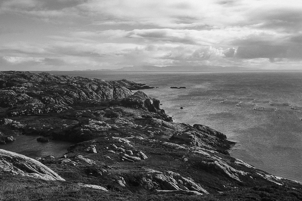 view over rocks and water at isle of harris