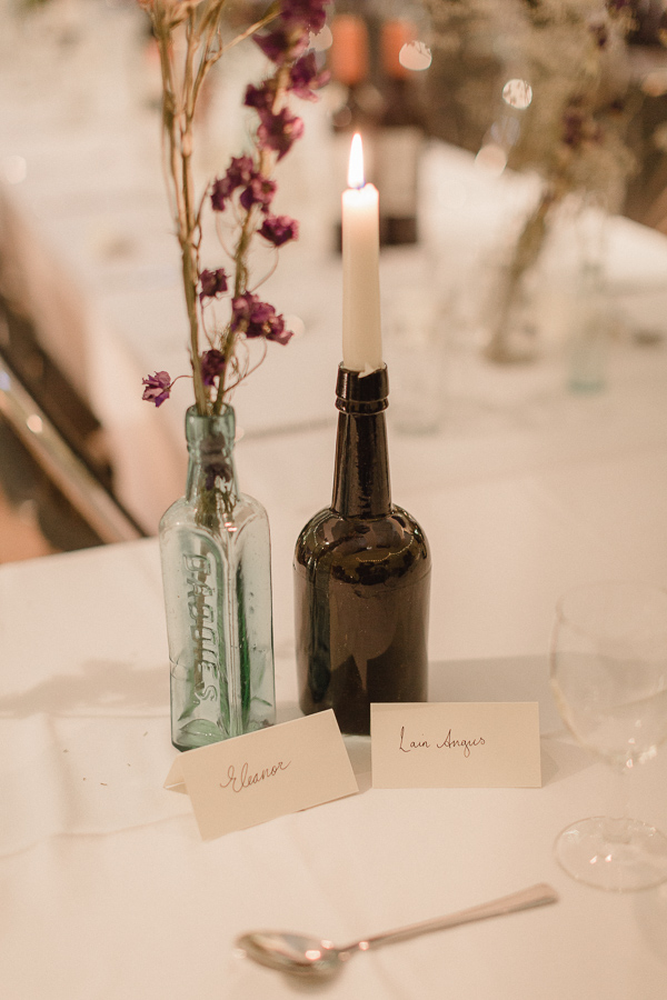 name tags and candles, simple diy wedding decorations