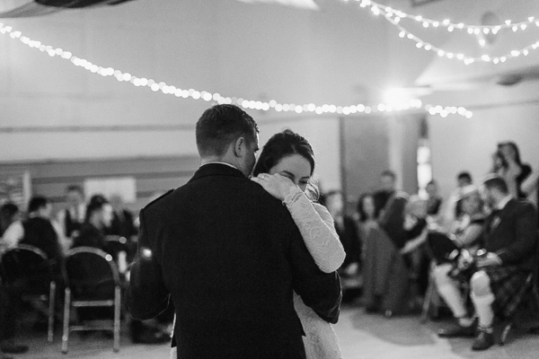 newlyweds embraced dancing