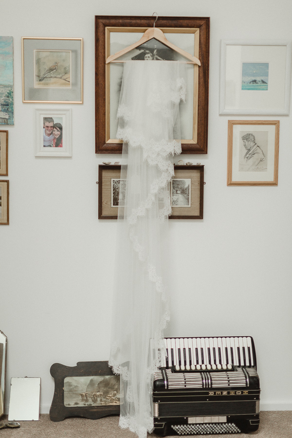 wedding veil hanging